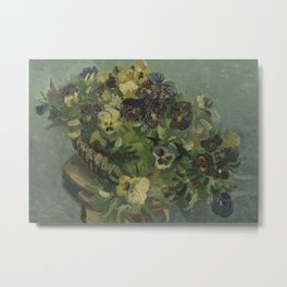 Basket of Pansies Metal Print
