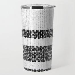 Woven Stripes Black and White Travel Mug