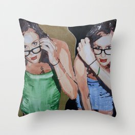 A portrait of a woman twice in a golden interior Throw Pillow