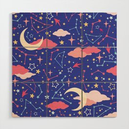 Constellation Stars and Moons in Neon Pastels Wood Wall Art