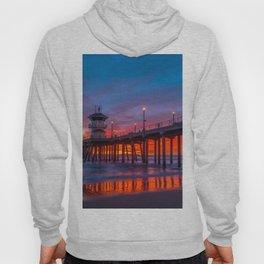 Crimson Sunset at Huntington Beach Pier. Hoody