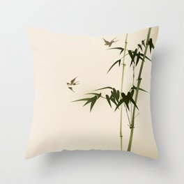 Oriental style bamboo branches 001 Throw Pillow