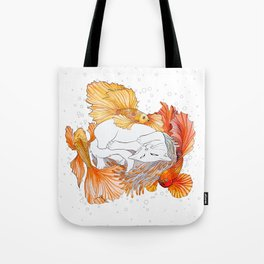 Cat and Golden Fishes Tote Bag