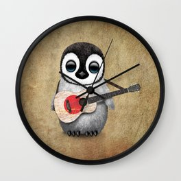 Baby Penguin Playing Japanese Flag Acoustic Guitar Wall Clock