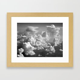 Light Dancing through Soft Clouds - Black and White Framed Art Print