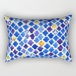 Rustic Watercolor Moroccan in Royal Blue & Gold Rectangular Pillow