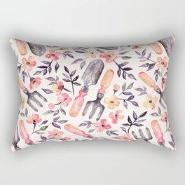 Spring Gardening - peach blossoms on cream Rectangular Pillow