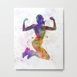 Woman runner jogger jumping powerful Metal Print