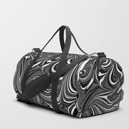 Black White Grey Marble Duffle Bag