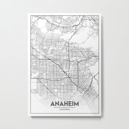 Minimal City Maps - Map of Anaheim, California, United States Metal Print