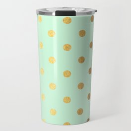 Gold polka dots on mint background - Luxury pattern Travel Mug