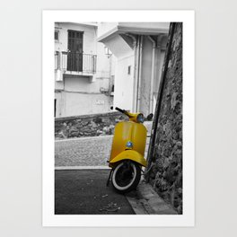 Yellow Vespa in Old Town Cannes Black and White Photography Art Print