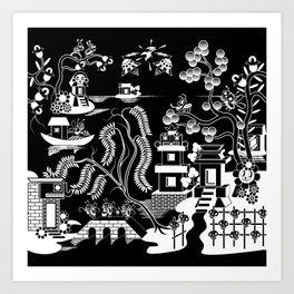 Goo Willow: Black on White Art Print