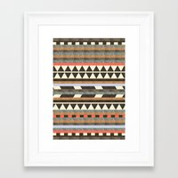 brown Framed Art Prints featuring DG Aztec No.1 by Dawn Gardner