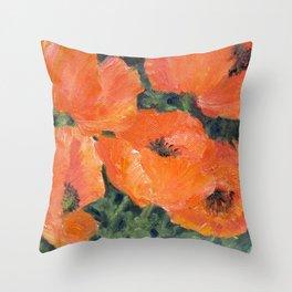 orange poppies Throw Pillow