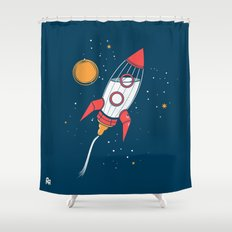 Bottle Rocket to the Milky Way Shower Curtain