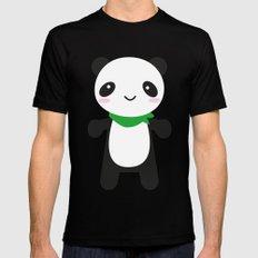 Super Cute Kawaii Panda Mens Fitted Tee MEDIUM Black