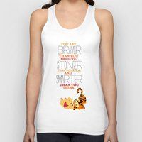 winnie the pooh Tank Tops featuring stronger, braver, smarter, winnie the pooh by studiomarshallarts