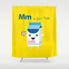 M is for Milk Shower Curtain
