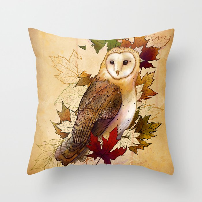 Autumn Barn Owl Throw Pillow By Taylorrose Society6