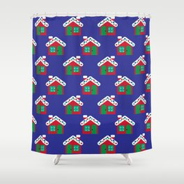 Christmas Gingerbread House Pattern Shower Curtain