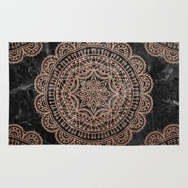 Mandala - rose gold and black marble 2 Rug