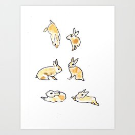 Bunny Poses Art Print