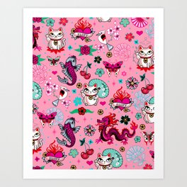 Lucky Cat Maneki Neko , Dragons and Koi fish On Pink Art Print