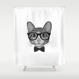 Cat Hipster With Polka Dots Bow Tie - Black White Shower Curtain