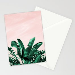 Turquoise Banana and palm Leaves Stationery Cards