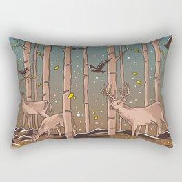 Birch Trees with Birds And Deer Rectangular Pillow
