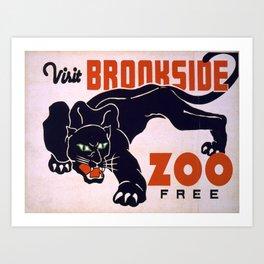 Vintage poster -Visit Brookside Zoo Free Art Print