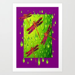 Red Dragonflies Fantasy Art Lemon-Chartreuse Rain & Purple Art Print