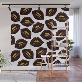 Red Black Lips and Faux Sparkly Gold Grill Teeth Wall Mural