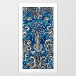 The Kraken (Blue - No Text) Art Print
