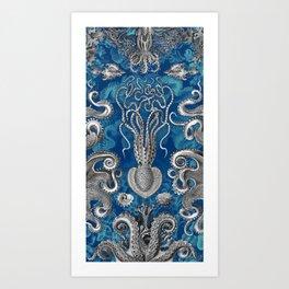 The Kraken (Blue - No Text) Art Print