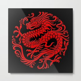 Traditional Red Chinese Dragon Circle Metal Print
