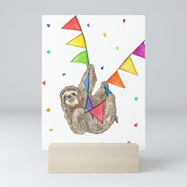 Sloth with Bunting #3 Mini Art Print