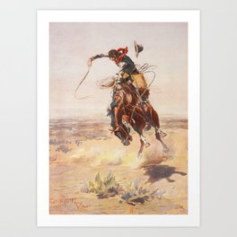 A Bad Hoss by Charles Marion Russell (c 1904) Art Print