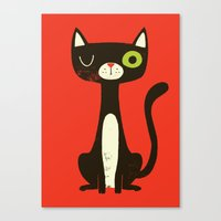 black cat Canvas Prints featuring Black Cat by Monster Riot