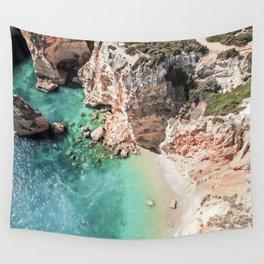Praia da Marinha Aerial View Photo | Portugal Aerial Travel Photography | Algarve Beach Drone Photo Wall Tapestry