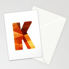 Letter K - Wood Initial  Stationery Cards