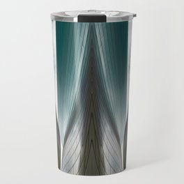 Architectural abstract of a metal clad building looming in symmetry and foreboding Travel Mug