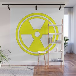 Caution Radioactive Sign In Yellow Wall Mural