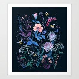Bees Garden Art Print