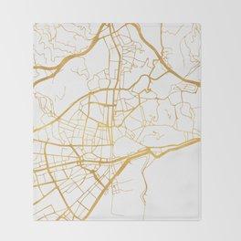 MALAGA SPAIN CITY STREET MAP ART Throw Blanket