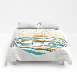 The Sun and The Sea - Gold and Teal Comforters