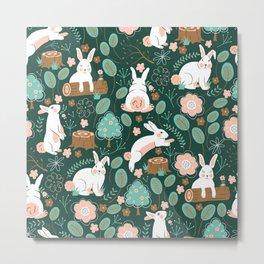 Woodland Bunnies Metal Print