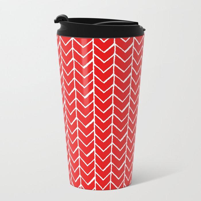 Herringbone Red Metal Travel Mug
