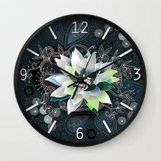 Dark blue and black zentangle inspired waterlily  Wall Clock
